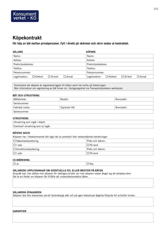 Köpekontrakt till fastighet | Gratis mall